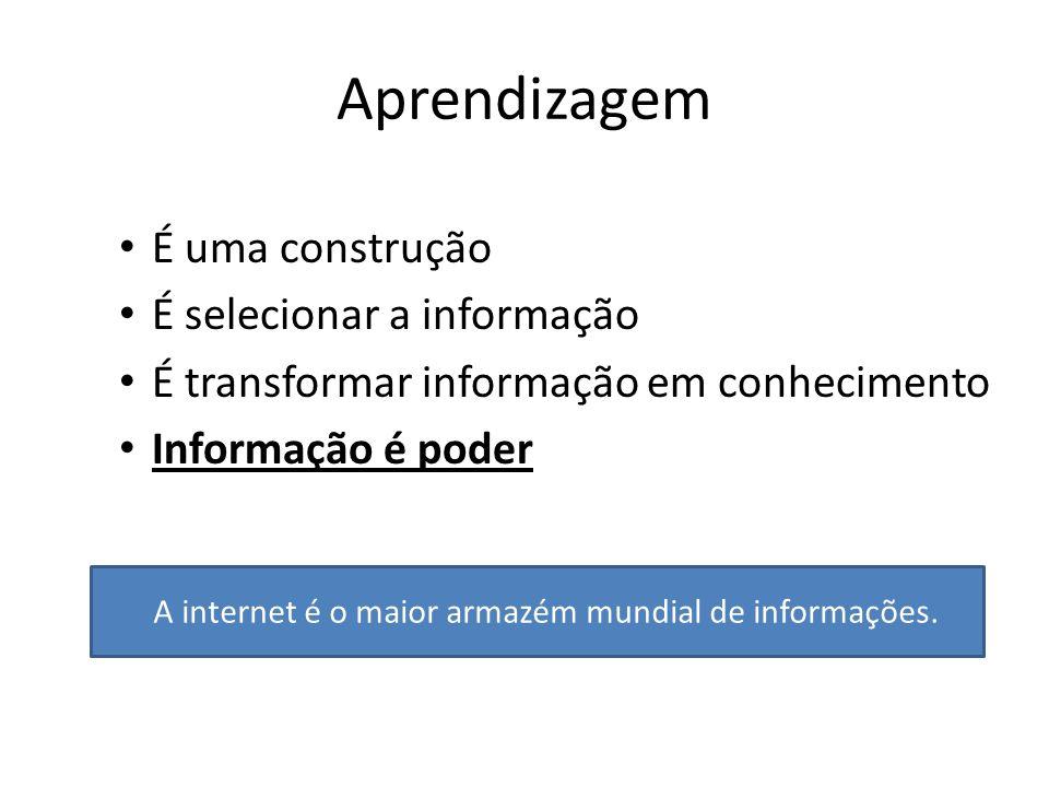 Aprendizagem É uma construção É selecionar a informação É transformar informação em conhecimento Informação é poder A internet é o maior armazém mundi