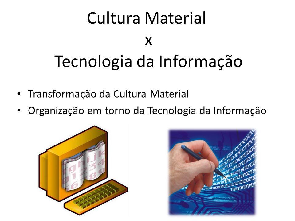 Cultura Material x Tecnologia da Informação Transformação da Cultura Material Organização em torno da Tecnologia da Informação