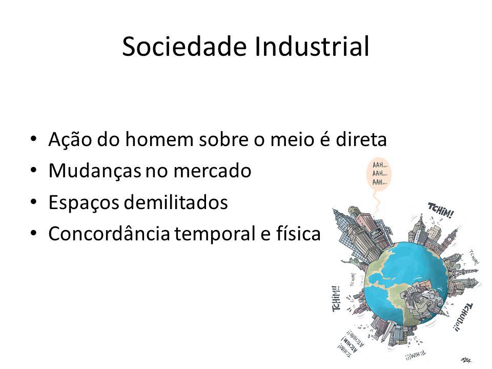 Sociedade Industrial Ação do homem sobre o meio é direta Mudanças no mercado Espaços demilitados Concordância temporal e física
