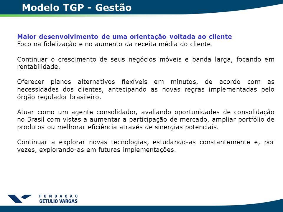Modelo TGP - Gestão Maior desenvolvimento de uma orientação voltada ao cliente Foco na fidelização e no aumento da receita média do cliente. Continuar
