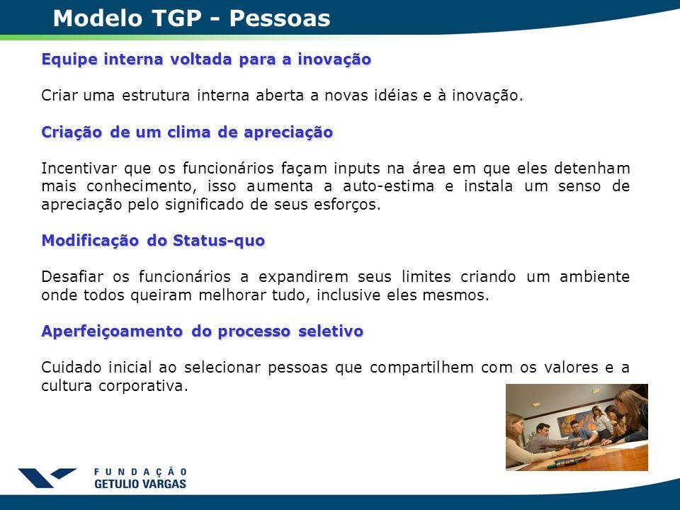 Modelo TGP - Pessoas Equipe interna voltada para a inovação Criar uma estrutura interna aberta a novas idéias e à inovação. Criação de um clima de apr