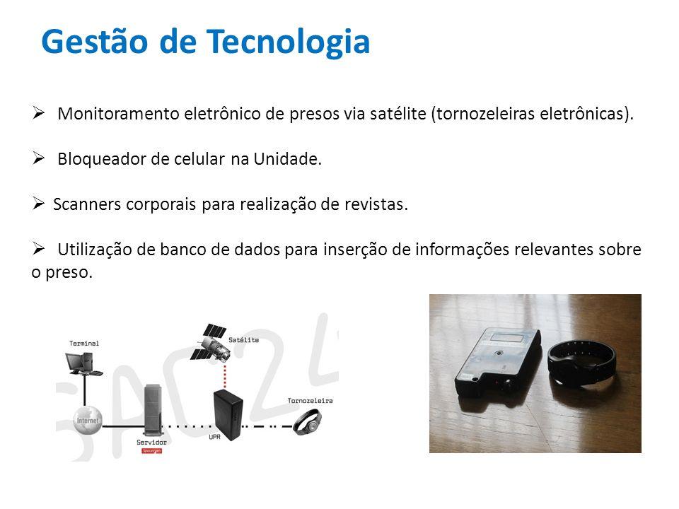 Gestão de Tecnologia Monitoramento eletrônico de presos via satélite (tornozeleiras eletrônicas).