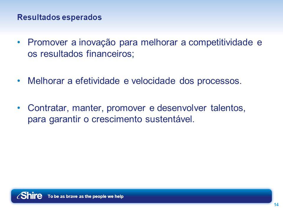 To be as brave as the people we help 14 Resultados esperados Promover a inovação para melhorar a competitividade e os resultados financeiros; Melhorar