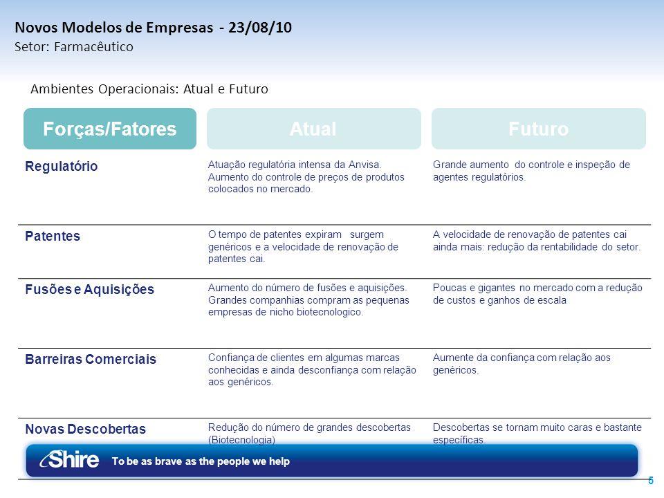 To be as brave as the people we help 5 Novos Modelos de Empresas - 23/08/10 Setor: Farmacêutico Atual Ambientes Operacionais: Atual e Futuro Regulatór
