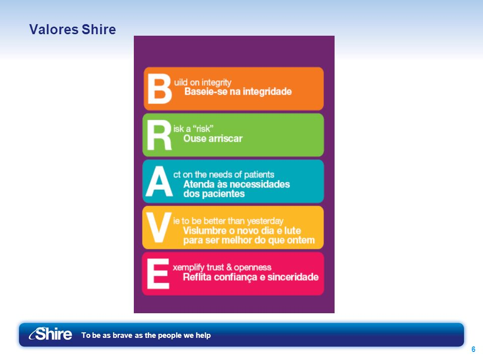 To be as brave as the people we help 6 Valores Shire