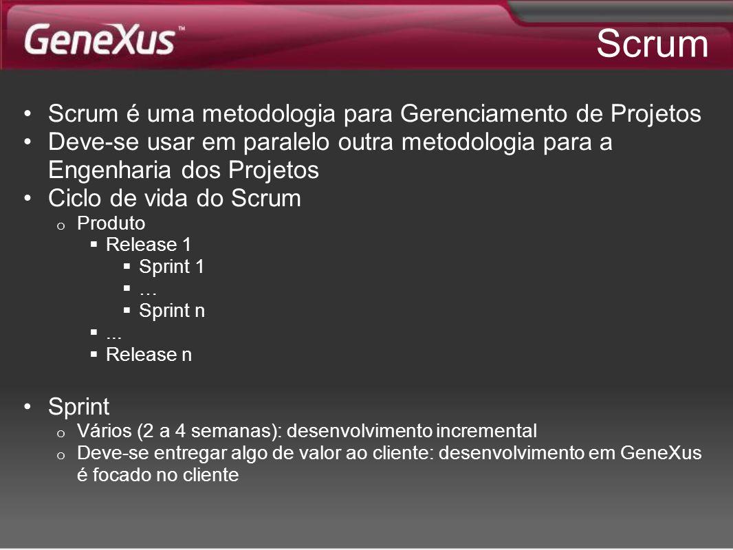 Scrum Scrum é uma metodologia para Gerenciamento de Projetos Deve-se usar em paralelo outra metodologia para a Engenharia dos Projetos Ciclo de vida d
