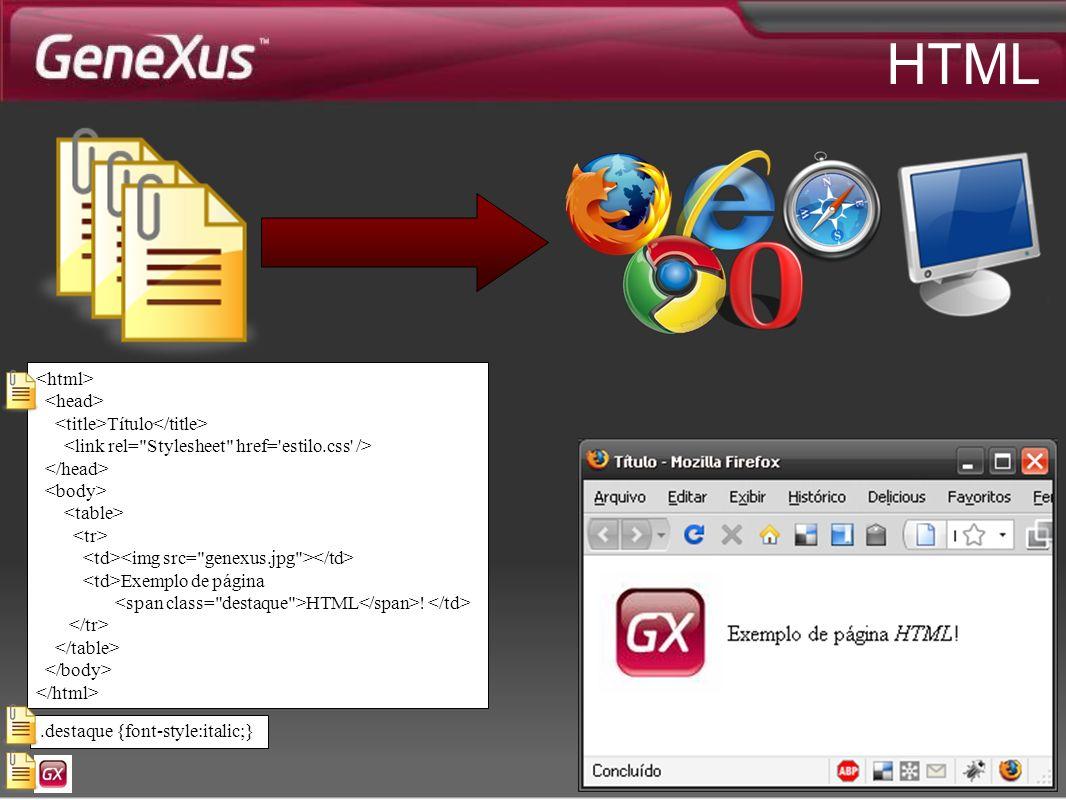 HTML.destaque {font-style:italic;} Título Exemplo de página HTML !