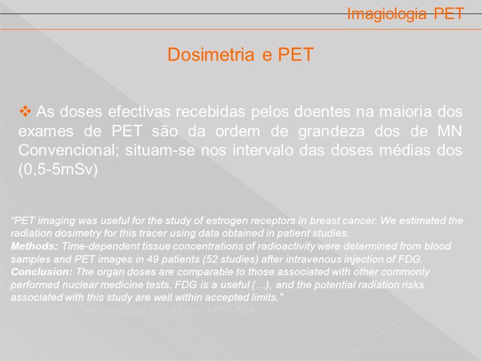 Imagiologia PET As doses efectivas recebidas pelos doentes na maioria dos exames de PET são da ordem de grandeza dos de MN Convencional; situam-se nos