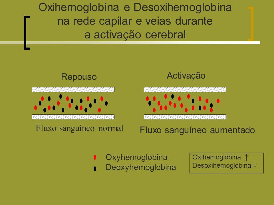 Oxihemoglobina e Desoxihemoglobina na rede capilar e veias durante a activação cerebral Oxyhemoglobina Deoxyhemoglobina Repouso Activação Fluxo sanguíneo normal Fluxo sanguíneo aumentado Oxihemoglobina Desoxihemoglobina