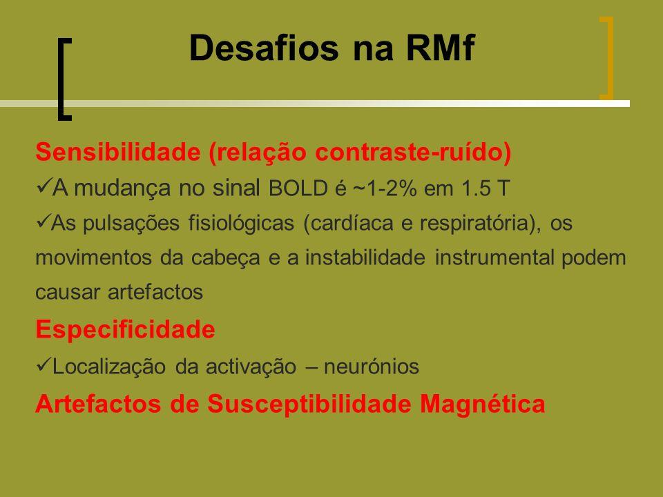 Desafios na RMf Sensibilidade (relação contraste-ruído) A mudança no sinal BOLD é ~1-2% em 1.5 T As pulsações fisiológicas (cardíaca e respiratória), os movimentos da cabeça e a instabilidade instrumental podem causar artefactos Especificidade Localização da activação – neurónios Artefactos de Susceptibilidade Magnética