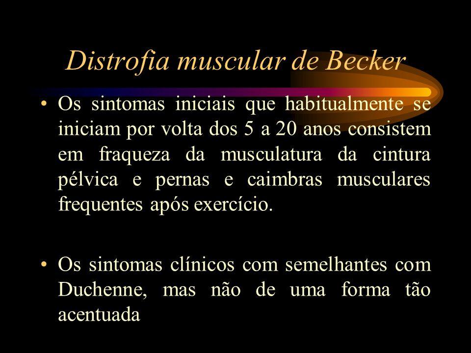 Distrofia muscular de Becker Os sintomas iniciais que habitualmente se iniciam por volta dos 5 a 20 anos consistem em fraqueza da musculatura da cintu
