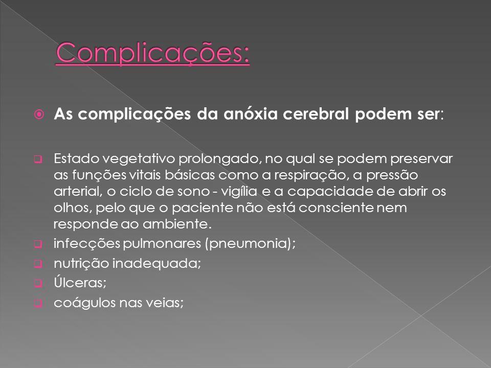 As complicações da anóxia cerebral podem ser : Estado vegetativo prolongado, no qual se podem preservar as funções vitais básicas como a respiração, a