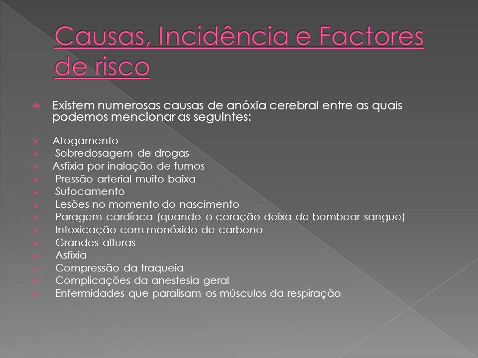 Existem numerosas causas de anóxia cerebral entre as quais podemos mencionar as seguintes: Afogamento Sobredosagem de drogas Asfixia por inalação de f