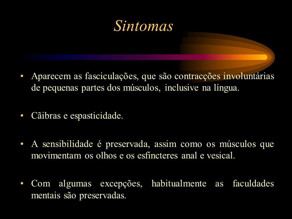 Sintomas Aparecem as fasciculações, que são contracções involuntárias de pequenas partes dos músculos, inclusive na língua. Cãibras e espasticidade. A