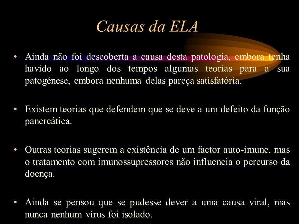 Causas da ELA Ainda não foi descoberta a causa desta patologia, embora tenha havido ao longo dos tempos algumas teorias para a sua patogénese, embora