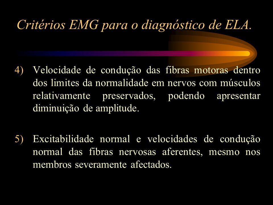 Critérios EMG para o diagnóstico de ELA. 4)Velocidade de condução das fibras motoras dentro dos limites da normalidade em nervos com músculos relativa