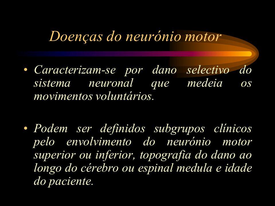 Atrofia muscular Espinal As tipo I e III apresentam características distintas: –A forma infantil rapidamente progressiva (doença de Werdnig-Hoffmann) leva à morte antes dos 3 anos de idade – Tipo I –Forma infantil tardia ou juvenil (sindrome Kugelberg- Welander) – Tipo III –A tipo II é uma forma intermédia entre estes dois sindromes