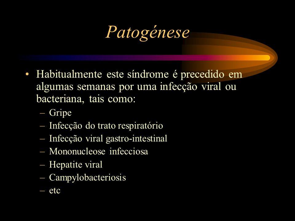 Patogénese Habitualmente este síndrome é precedido em algumas semanas por uma infecção viral ou bacteriana, tais como: –Gripe –Infecção do trato respi
