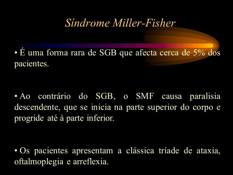 Síndrome Miller-Fisher É uma forma rara de SGB que afecta cerca de 5% dos pacientes. Ao contrário do SGB, o SMF causa paralisia descendente, que se in
