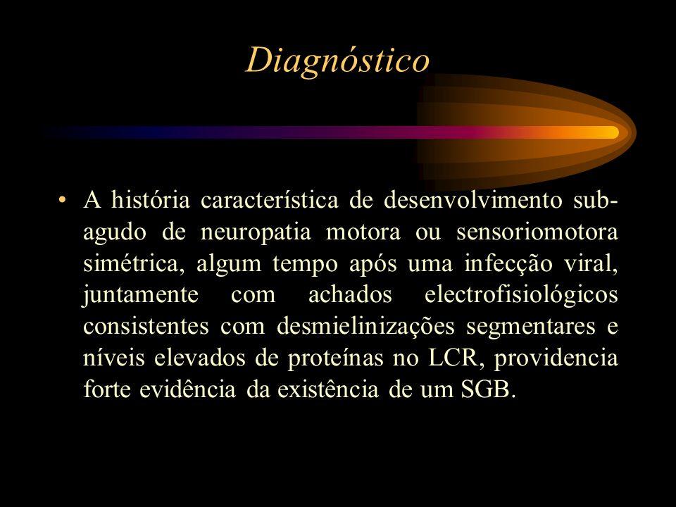 Diagnóstico A história característica de desenvolvimento sub- agudo de neuropatia motora ou sensoriomotora simétrica, algum tempo após uma infecção vi