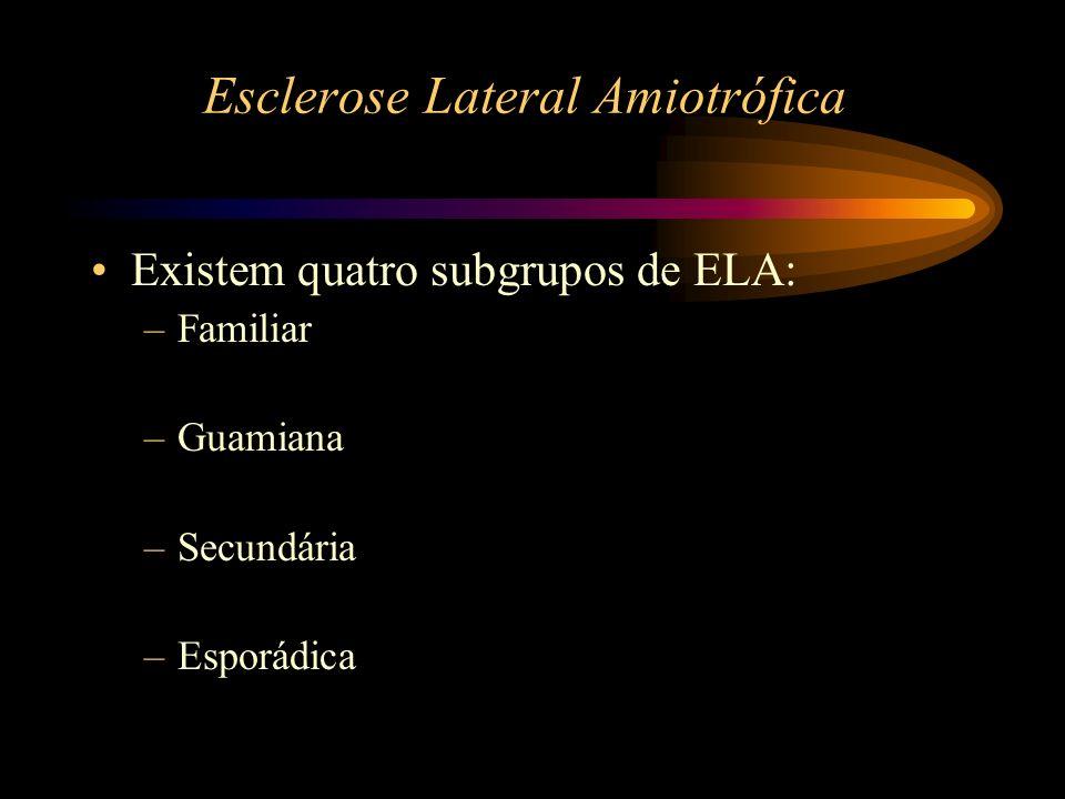 Esclerose Lateral Amiotrófica (Familiar) A ELA é familiar e presumivelmente transmitida em 8 a 10% dos casos.
