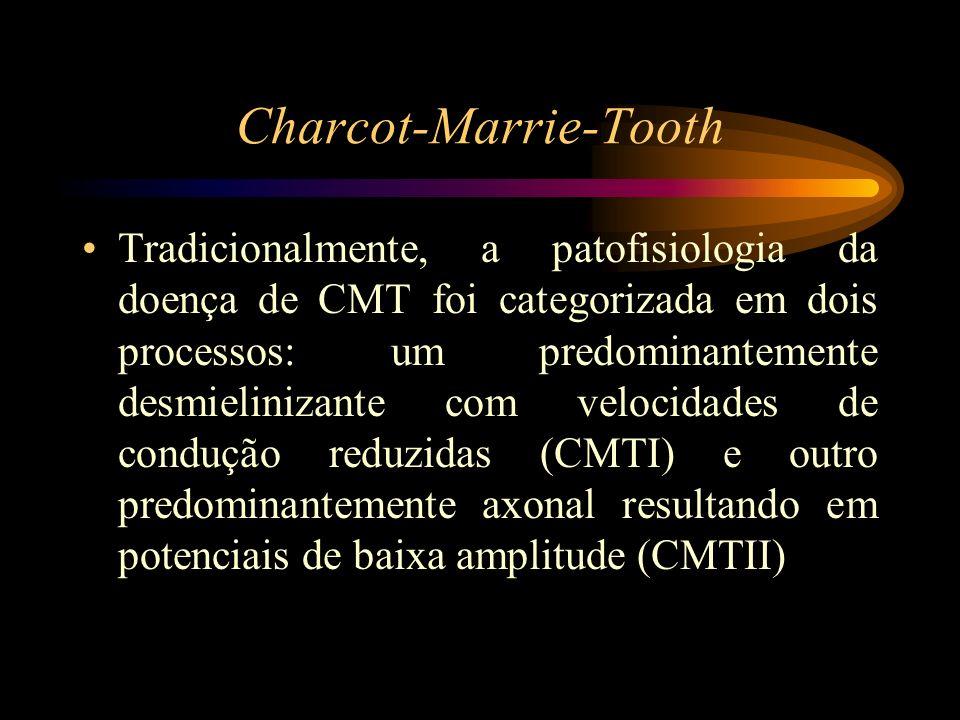 Charcot-Marrie-Tooth Tradicionalmente, a patofisiologia da doença de CMT foi categorizada em dois processos: um predominantemente desmielinizante com