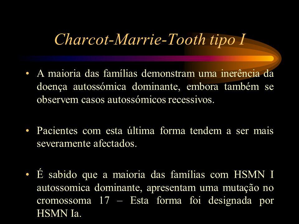 Charcot-Marrie-Tooth tipo I Noutras familias, mas muito menos frequentemente, um gene anormal localiza-se no braço proximal do cromossoma 1 – Esta forma foi designada por HSMN Ib