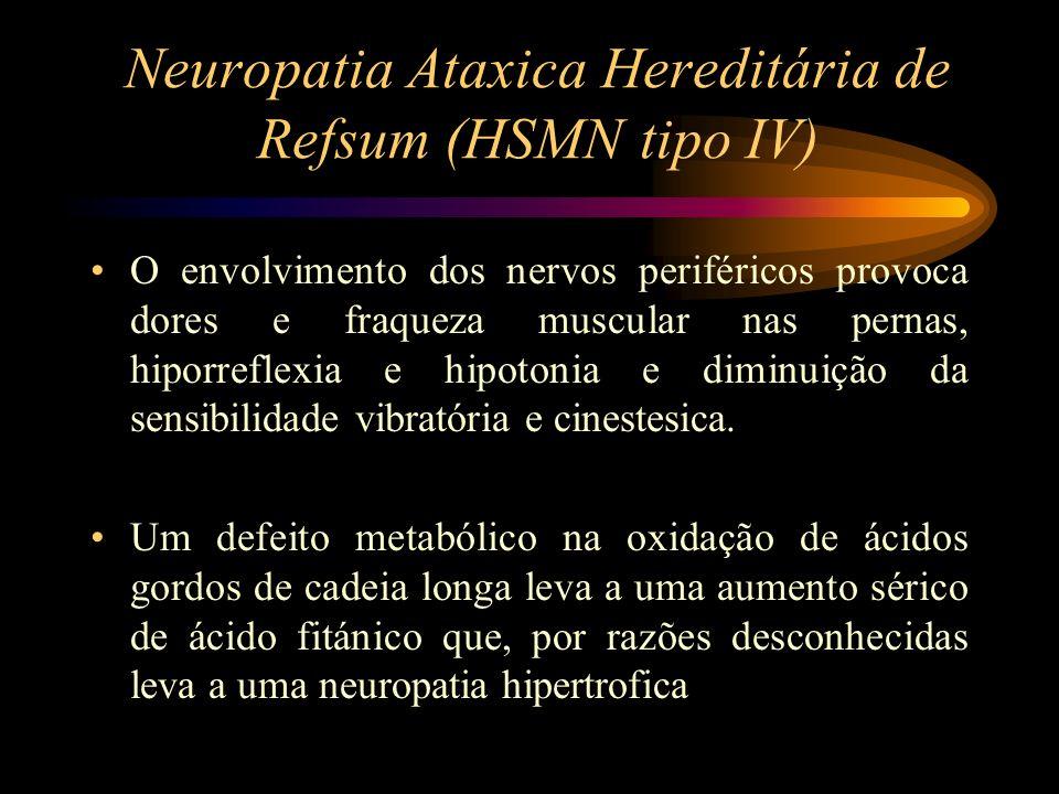 Neuropatia Ataxica Hereditária de Refsum (HSMN tipo IV) O envolvimento dos nervos periféricos provoca dores e fraqueza muscular nas pernas, hiporrefle