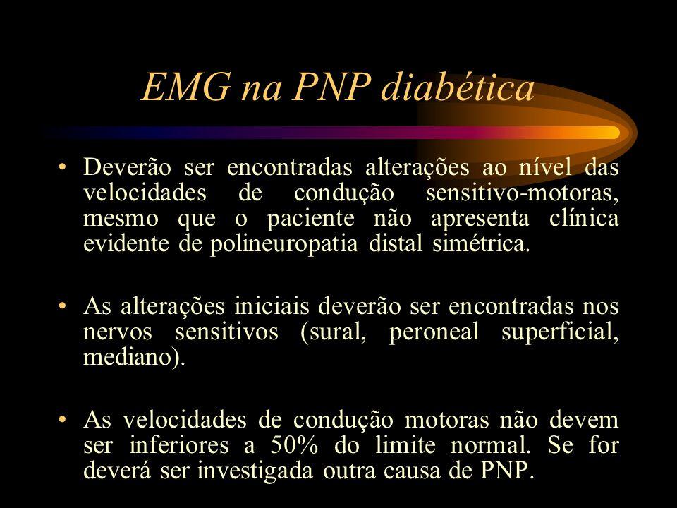 EMG na PNP diabética Os potenciais de acção sensitivo composto deverá apresentar amplitude reduzida, com potenciais mal formados ou mesmo ausentes, com lentificação da velocidade de condução.