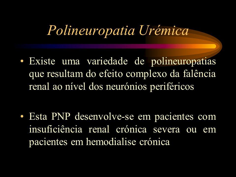 Polineuropatia Urémica Existe uma variedade de polineuropatias que resultam do efeito complexo da falência renal ao nível dos neurónios periféricos Es