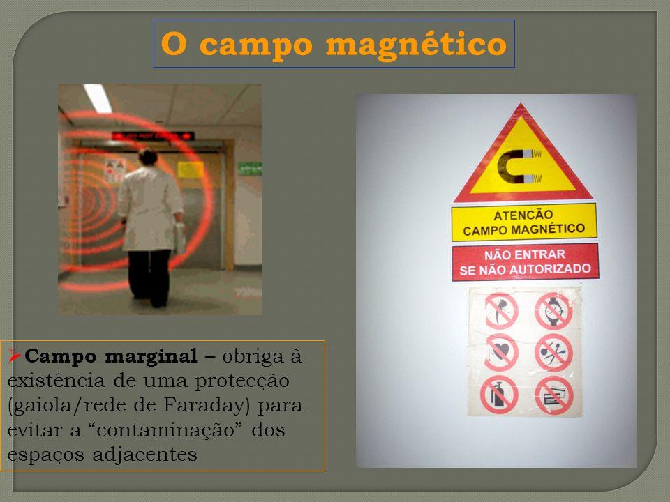 Campo marginal – obriga à existência de uma protecção (gaiola/rede de Faraday) para evitar a contaminação dos espaços adjacentes