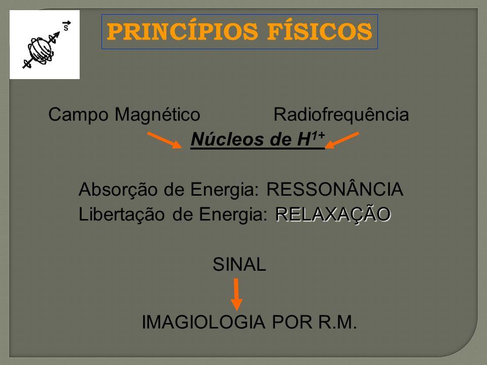Campo MagnéticoRadiofrequência Núcleos de H 1+ Absorção de Energia: RESSONÂNCIA RELAXAÇÃO Libertação de Energia: RELAXAÇÃO SINAL IMAGIOLOGIA POR R.M.