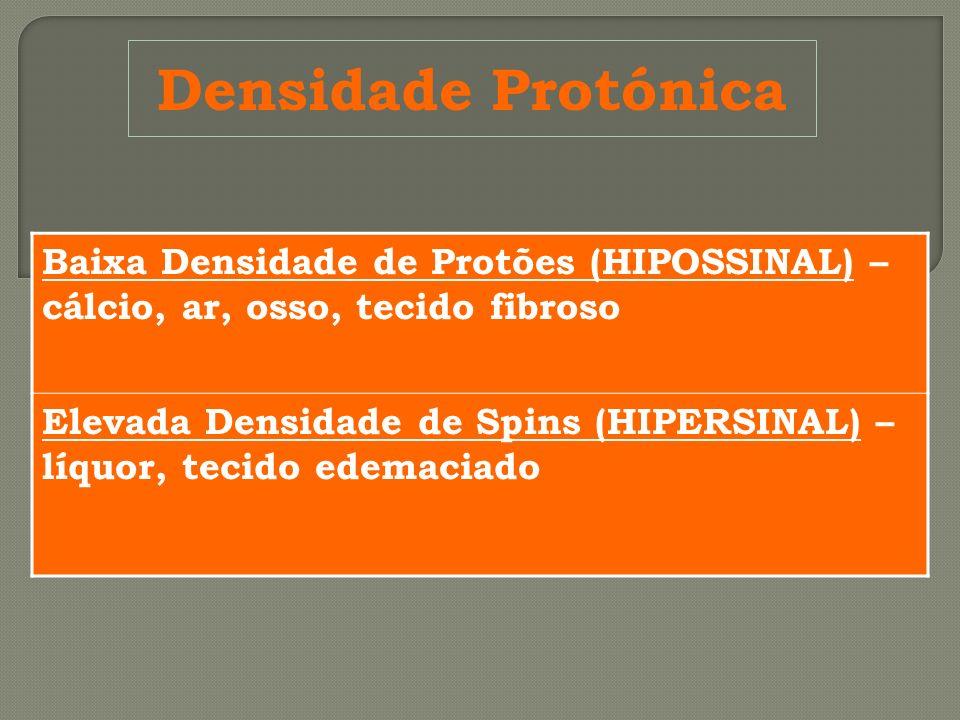 Densidade Protónica Baixa Densidade de Protões (HIPOSSINAL) – cálcio, ar, osso, tecido fibroso Elevada Densidade de Spins (HIPERSINAL) – líquor, tecid
