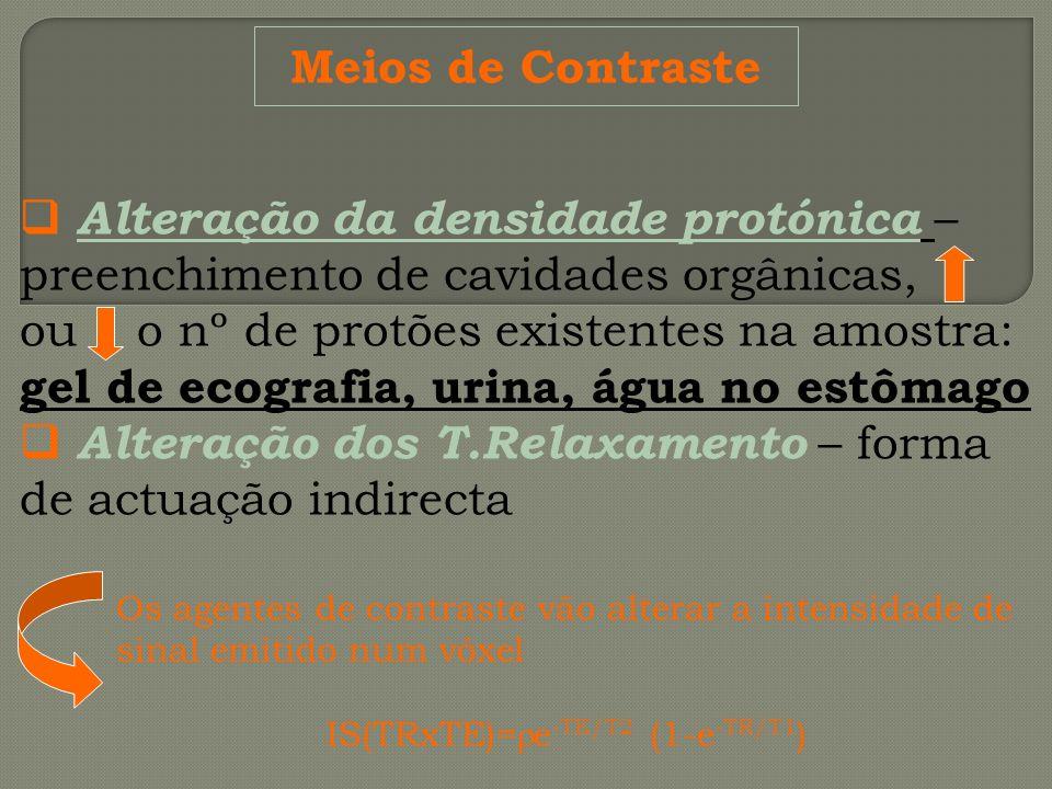 Meios de Contraste Alteração da densidade protónica – preenchimento de cavidades orgânicas, ou o nº de protões existentes na amostra: gel de ecografia