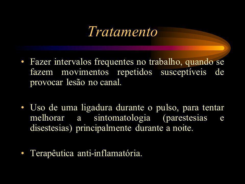 Tratamento Fazer intervalos frequentes no trabalho, quando se fazem movimentos repetidos susceptíveis de provocar lesão no canal. Uso de uma ligadura