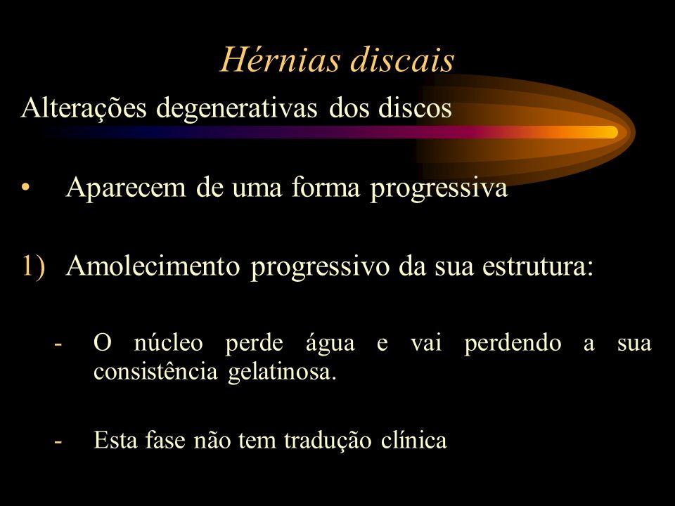 Hérnias discais Alterações degenerativas dos discos Aparecem de uma forma progressiva 1)Amolecimento progressivo da sua estrutura: -O núcleo perde águ