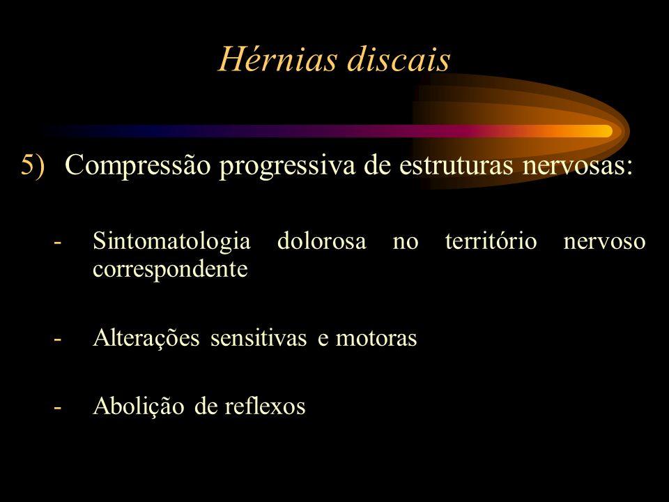 5)Compressão progressiva de estruturas nervosas: -Sintomatologia dolorosa no território nervoso correspondente -Alterações sensitivas e motoras -Aboli