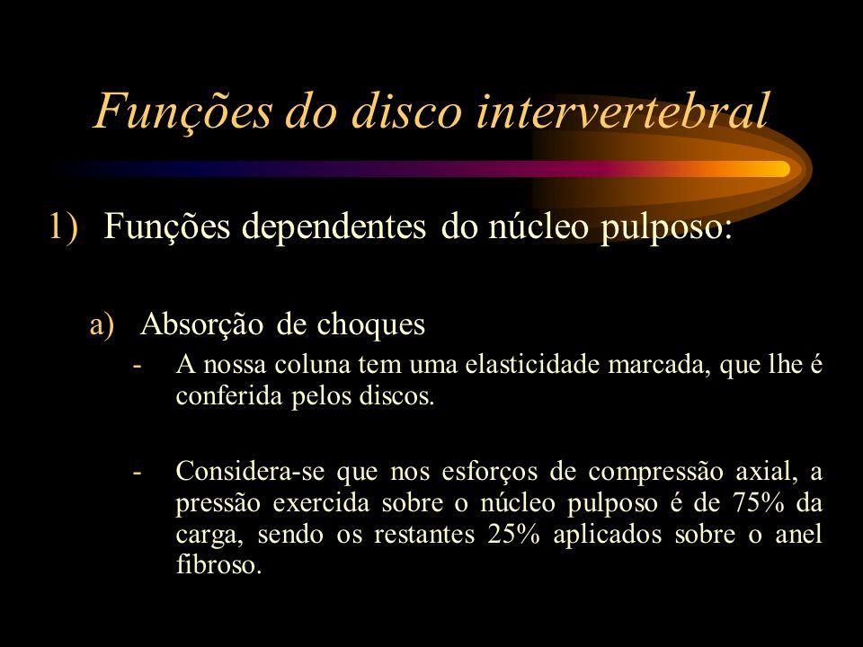 Funções do disco intervertebral b)Igualização de esforços -Qualquer esforço a que a coluna seja submetida é transmitido ao núcleo pulposo, que por sua vez, o transmite equitativamente a todos os pontos da vértebra inferior.