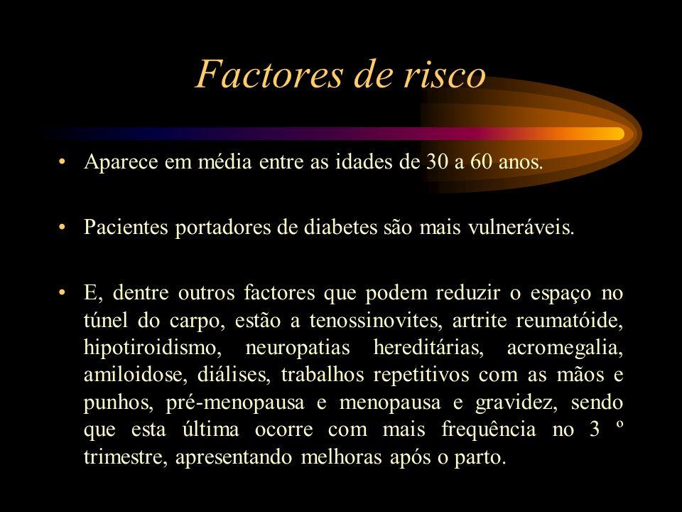 Factores de risco Fatores traumáticos podem ocasionar a STC em fase aguda, tal como a fractura do tipo Colles, na porção distal do rádio.