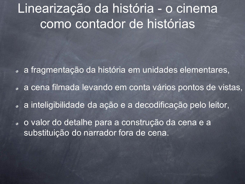 Linearização da história - o cinema como contador de histórias a fragmentação da história em unidades elementares, a cena filmada levando em conta vár
