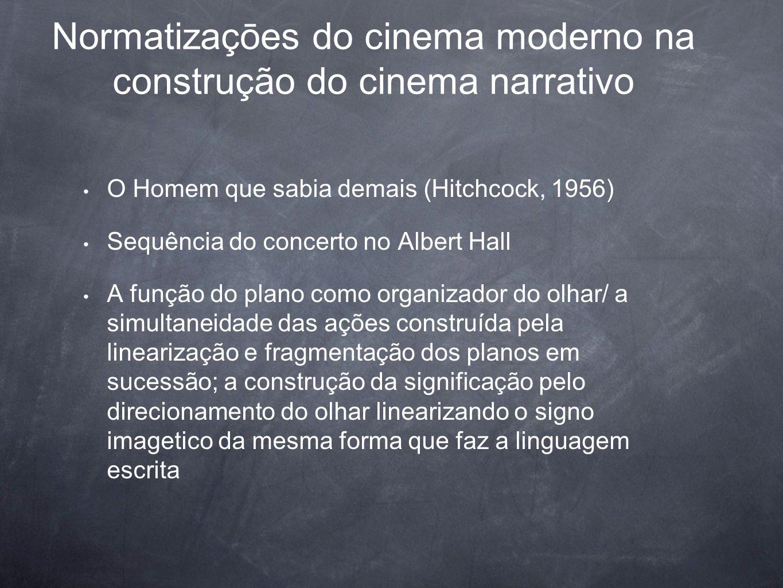 Normatizaçōes do cinema moderno na construção do cinema narrativo O Homem que sabia demais (Hitchcock, 1956) Sequência do concerto no Albert Hall A fu