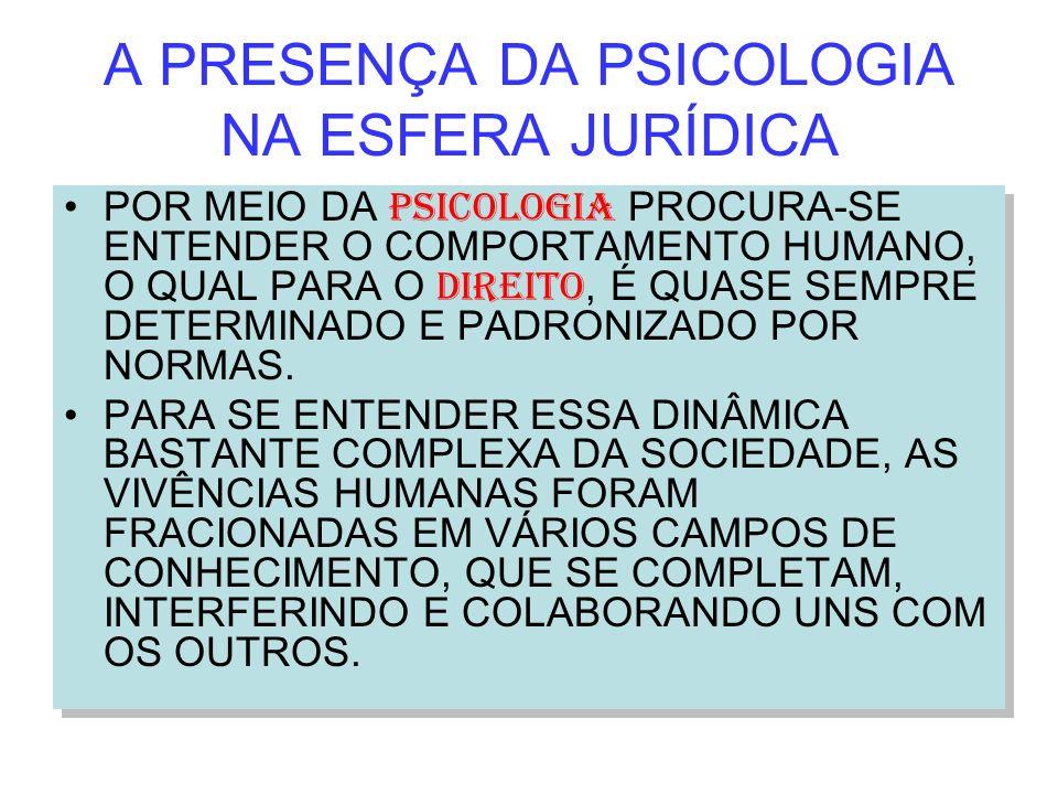 A PRESENÇA DA PSICOLOGIA NA ESFERA JURÍDICA POR MEIO DA PSICOLOGIA PROCURA-SE ENTENDER O COMPORTAMENTO HUMANO, O QUAL PARA O DIREITO, É QUASE SEMPRE D