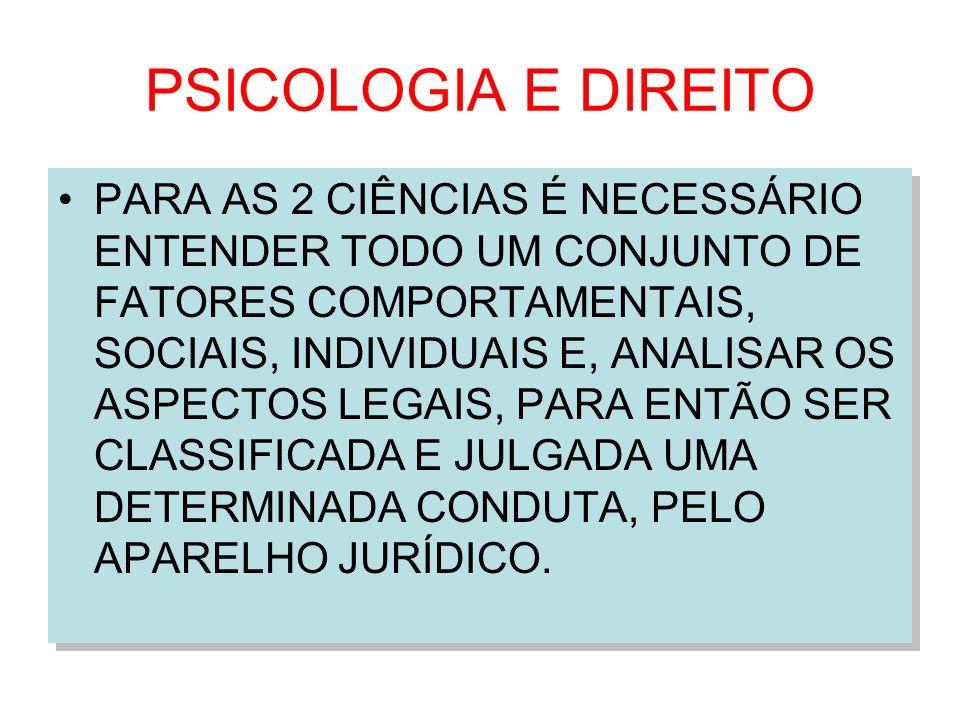 PSICOLOGIA E DIREITO PARA AS 2 CIÊNCIAS É NECESSÁRIO ENTENDER TODO UM CONJUNTO DE FATORES COMPORTAMENTAIS, SOCIAIS, INDIVIDUAIS E, ANALISAR OS ASPECTO