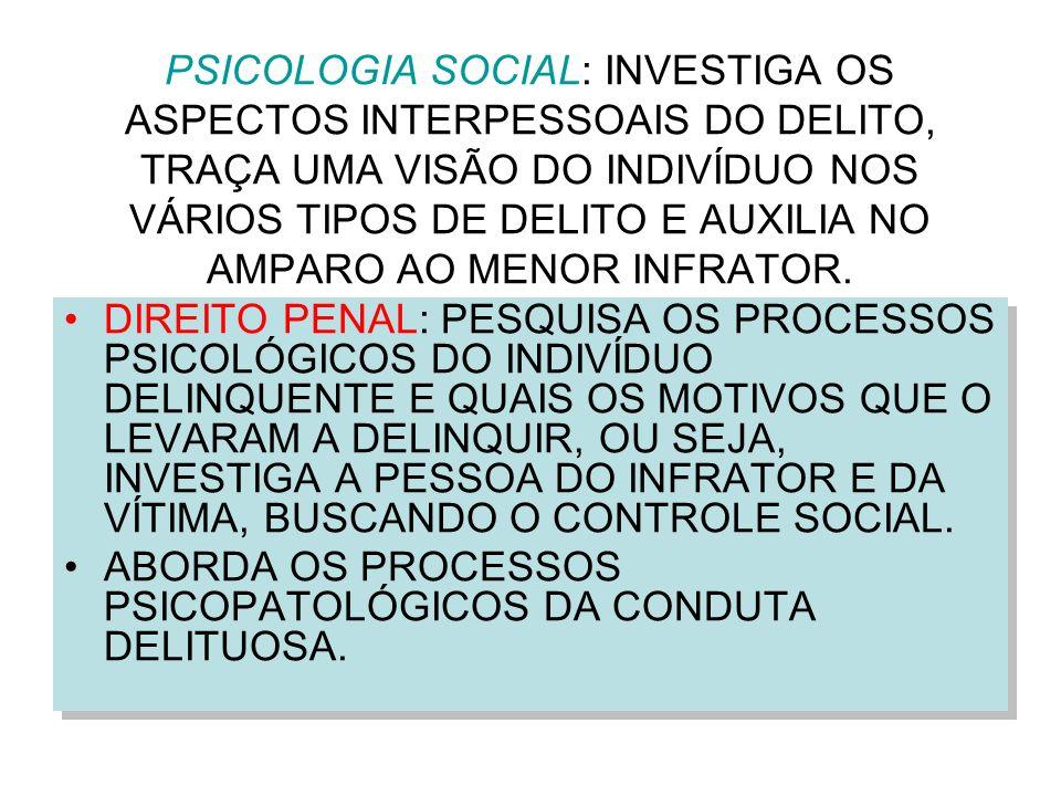 PSICOLOGIA SOCIAL: INVESTIGA OS ASPECTOS INTERPESSOAIS DO DELITO, TRAÇA UMA VISÃO DO INDIVÍDUO NOS VÁRIOS TIPOS DE DELITO E AUXILIA NO AMPARO AO MENOR