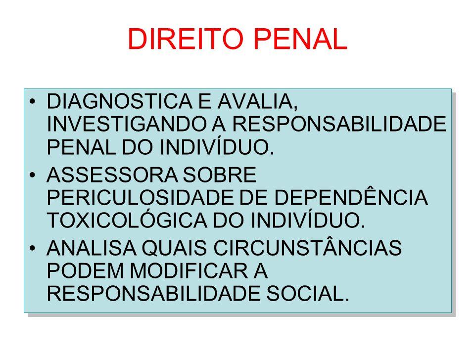 DIREITO PENAL DIAGNOSTICA E AVALIA, INVESTIGANDO A RESPONSABILIDADE PENAL DO INDIVÍDUO. ASSESSORA SOBRE PERICULOSIDADE DE DEPENDÊNCIA TOXICOLÓGICA DO