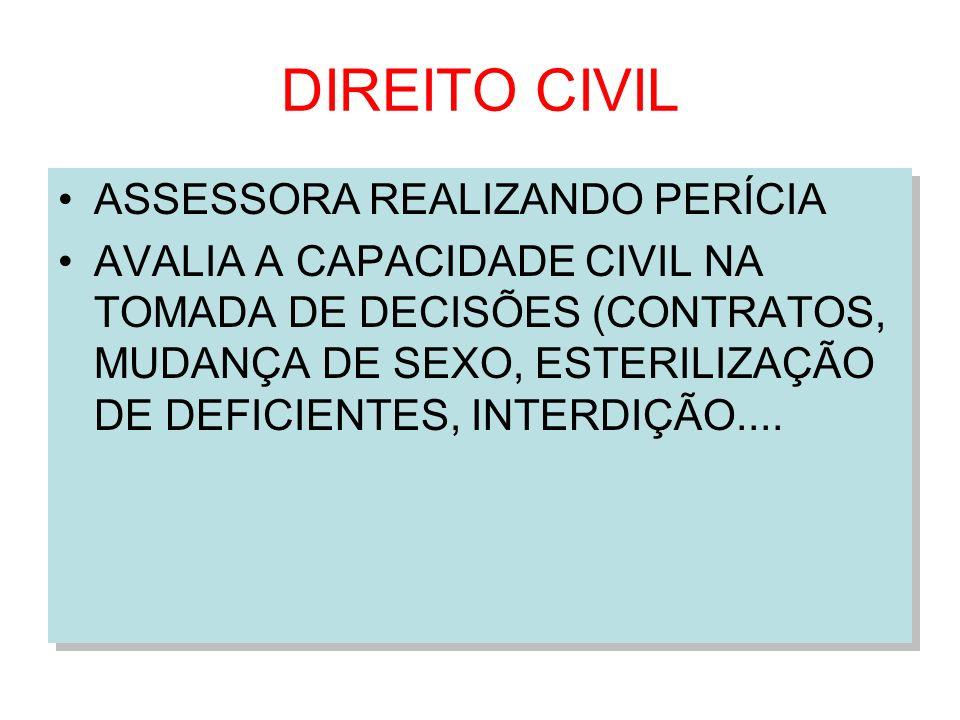 DIREITO CIVIL ASSESSORA REALIZANDO PERÍCIA AVALIA A CAPACIDADE CIVIL NA TOMADA DE DECISÕES (CONTRATOS, MUDANÇA DE SEXO, ESTERILIZAÇÃO DE DEFICIENTES,