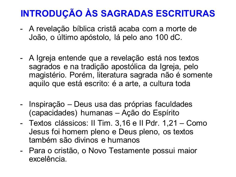 INTRODUÇÃO ÀS SAGRADAS ESCRITURAS -A revelação bíblica cristã acaba com a morte de João, o último apóstolo, lá pelo ano 100 dC. -A Igreja entende que