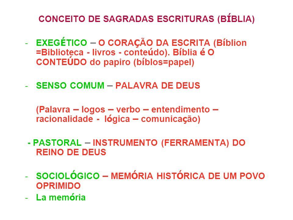 CONCEITO DE SAGRADAS ESCRITURAS (B Í BLIA) -EXEG É TICO – O CORA Ç ÃO DA ESCRITA (B í blion =Biblioteca - livros - conte ú do). B í blia é O CONTE Ú D