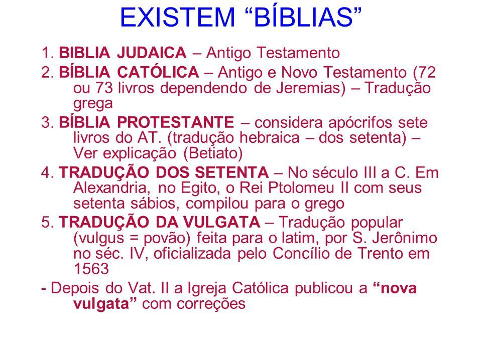 EXISTEM BÍBLIAS 1. BIBLIA JUDAICA – Antigo Testamento 2. BÍBLIA CATÓLICA – Antigo e Novo Testamento (72 ou 73 livros dependendo de Jeremias) – Traduçã