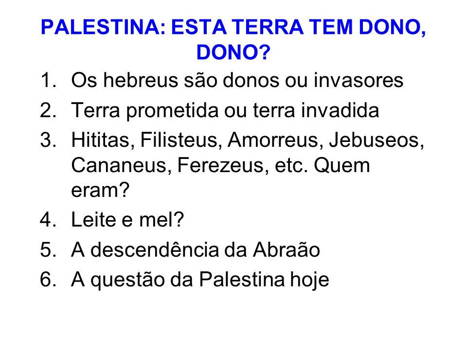 PALESTINA: ESTA TERRA TEM DONO, DONO? 1.Os hebreus são donos ou invasores 2.Terra prometida ou terra invadida 3.Hititas, Filisteus, Amorreus, Jebuseos